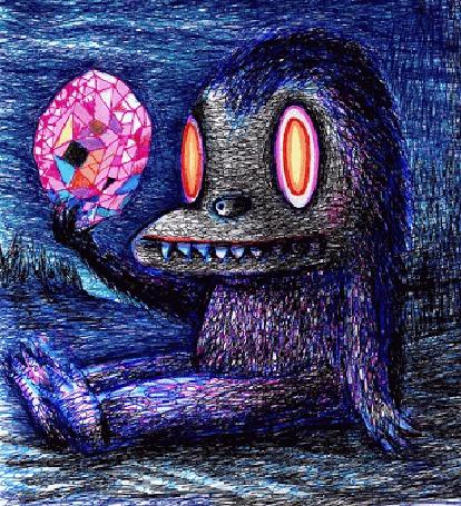 Анимация Вигглграмма, изображающая обезьяну с огромным бриллиантом в лапе