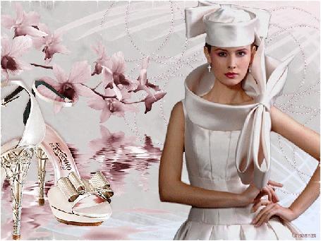 Анимация Девушка в стильном атласном платье и шляпке светло-розового цвета. Справа от нее розовые цветы и босоножки (© Solnushko), добавлено: 20.04.2015 12:42