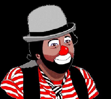 Анимация Веселый клоун в котелке и с красным носом, подмигивает одним глазом (© Akela), добавлено: 21.04.2015 14:03