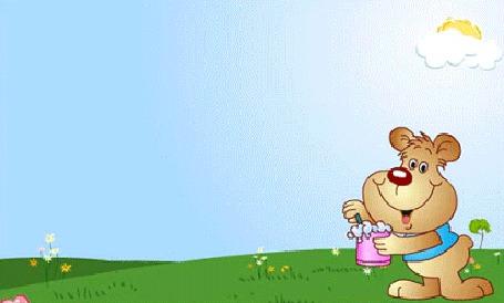 Анимация Щенок выдувает мыльные пузыри в виде пяти улыбающихся смайликов (Пусть твой день будет наполнен улыбками и радостью!)