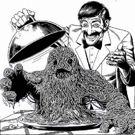 Анимация Мужчина официант поднял крышку блюда и там шевелится существо с головой и руками из вермишели (© Akela), добавлено: 21.04.2015 22:53
