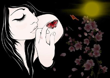 Анимация Девушка трогает рукой севшую ей на плечо бабочку, рядом растут цветы, над которыми летают бабочки (© Akela), добавлено: 21.04.2015 23:05