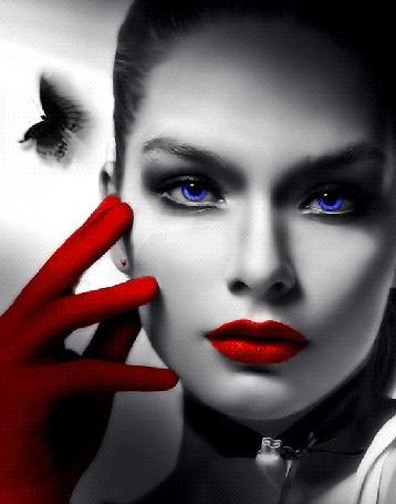 Анимация Девушка с ярко накрашенными губами, с синими глазами, шевелит пальцами руки в красной перчатке у своего лица, над которой летает бабочка (© Akela), добавлено: 21.04.2015 23:16