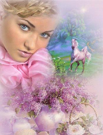 Анимация Блондинка с голубыми глазами стоит у вазы с цветами сирени и корзинки с розами, на заднем плане видна белая лошадь (© Akela), добавлено: 21.04.2015 23:21