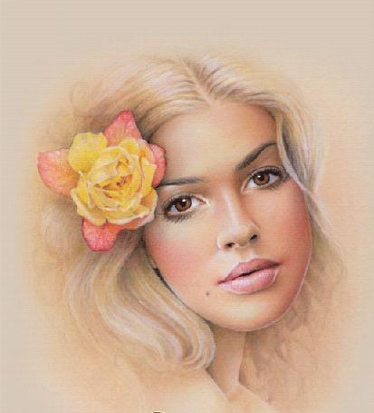 Анимация Девушка блондинка с цветком в волосах и с карими глазами (© Akela), добавлено: 21.04.2015 23:27