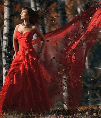Анимация Девушка в длинном красном платье стоит среди берез