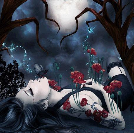 Анимация Девушка в цветах и тату в виде цветов лежит на спине под деревьями, ей на губы села бабочка (© Akela), добавлено: 22.04.2015 04:30