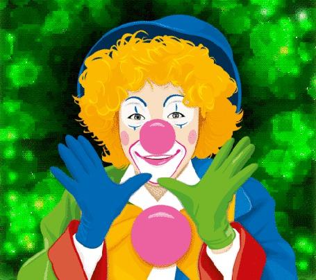 Анимация Веселый клоун в гриме, в разного цвета перчатках на руках и с розовым шариком (© Akela), добавлено: 22.04.2015 04:51