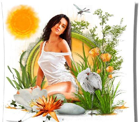 Анимация Девушка в летнем платьице сидит среди цветов и камней, рядом стоит белая цапля и летают стрекозы, by Mira