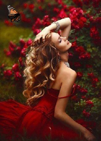 Анимация Девушка в красном платье сидит возле цветущего куста, запрокинув назад голову, закрыв глаза и подняв к голове руку, над ней летает бабочка (© Akela), добавлено: 22.04.2015 18:12