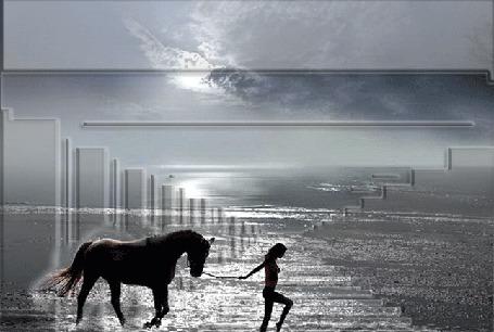 Анимация Девушка идет по воде и ведет под узды лошадь, над ними сверкают молнии (© Akela), добавлено: 22.04.2015 18:14
