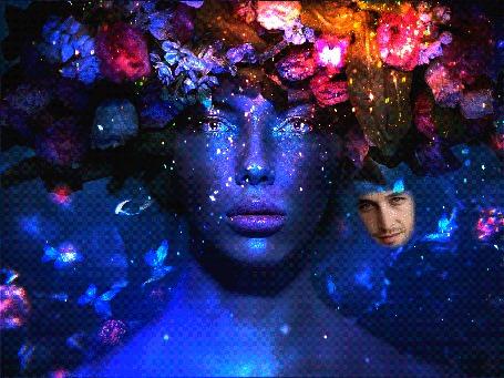 Анимация Девушка с разрисованным лицом, в веночке из цветов с летающими бабочками, рядом видно лицо любимого мужчины (© Akela), добавлено: 22.04.2015 18:21