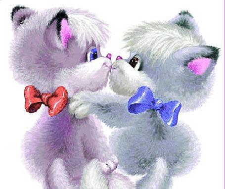 Анимация Котята мальчик и девочка с цветными бантиками на шеях целуются (© Akela), добавлено: 22.04.2015 18:42