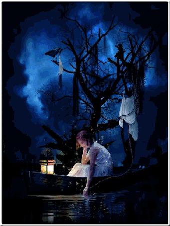Анимация Девушка сидя в лодке, опустила в воду руку, в лодке горит зажженный фонарь, лодка стоит под деревом, на ветках которого развешаны куски белой ткани и сидит ворон
