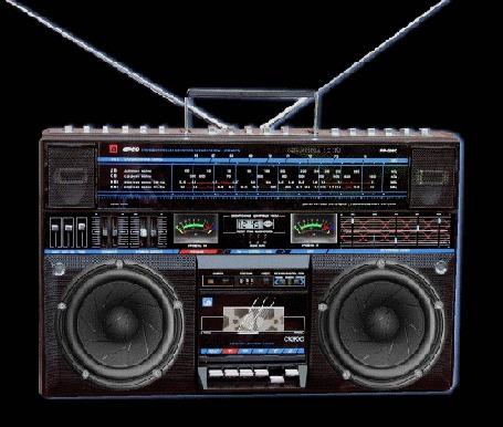 Анимация Стерео магнитофон с дребезжащими от звуков музыки динамиками, Алеко (© Akela), добавлено: 22.04.2015 21:09