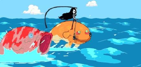 Анимация Марселин / Marceline несется по волнам на большой рыбе, мультфильм Adventure Time / Время Приключений