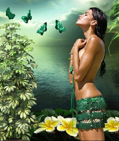 Анимация Темноволосая девушка в короткой плетеной юбочке стоит на берегу залива, прижав руки к груди и закрыв глаза, среди зеленых кустов и цветов, над ней летают зеленые бабочки (© Akela), добавлено: 23.04.2015 03:23
