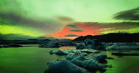 Анимация Северное сияние над замерзшими льдинами, by Orbo (© Seona), добавлено: 23.04.2015 11:47