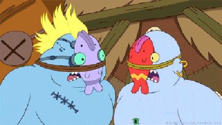 Анимация Два драчуна, с привязанными к лицам рыбами, выясняют отношения, мультфильм Воспоминания о горе Бум Бум из сериала Adventure Time / Время приключений с Финном и Джейком