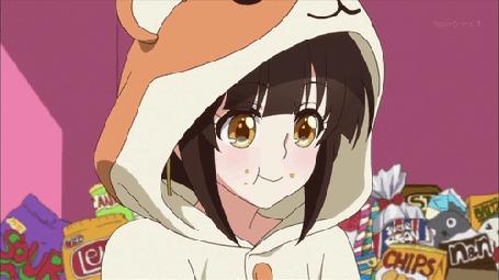 Анимация Девушка с печеньками, кадр из аниме Mikagura Gakuen Kumikyoku (© Kuppuru), добавлено: 25.04.2015 11:30