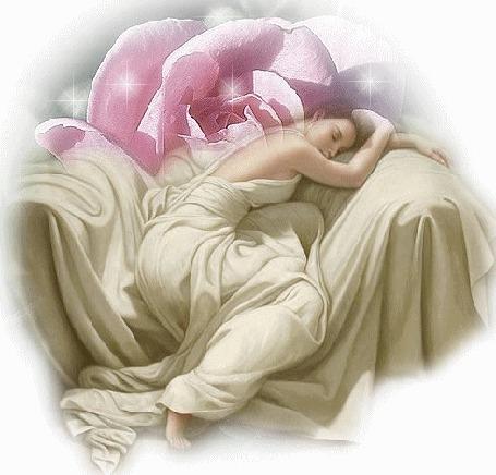 Анимация Девушка под большой розовой розой спит, положив голову на спинку большого кресла (© Akela), добавлено: 26.04.2015 00:11