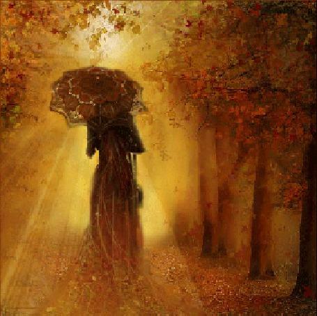 Анимация Девушка в длинном платье, под зонтиком уходит по осенней, усыпанной листьями аллее
