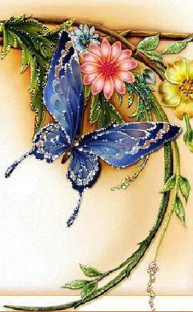 Анимация Синяя бабочка на фоне декоративных веток с листьями и цветами (© Akela), добавлено: 26.04.2015 00:18