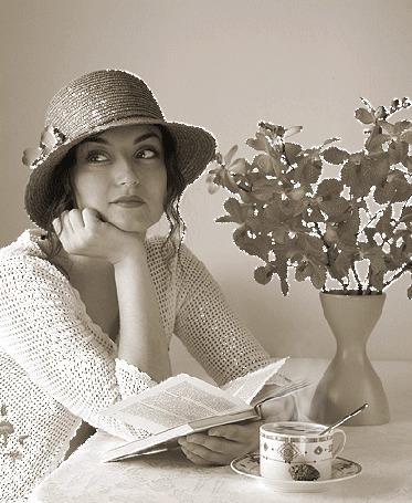 Анимация Девушка в шляпке, сидя за столом за чашкой кофе и читая книгу мечтает, когда ее любимый мужчина возьмет ее за руку (© Akela), добавлено: 26.04.2015 08:00