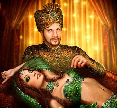 Анимация Восточный владыка с нежностью обнимает лежащую на его коленях красивую принцессу в зеленых нарядах