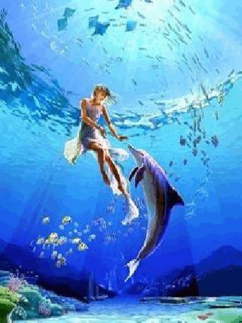 Анимация Девушка с дельфином под водой