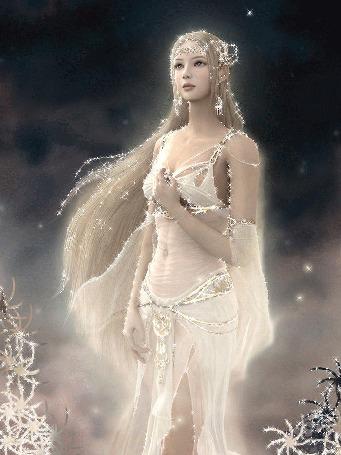 Анимация Девушка блондинка с длинными волосами в полупрозрачном белом восточном платье левую руку прижала к груди. Она стоит на фоне ночного неба, на котором светит звезда