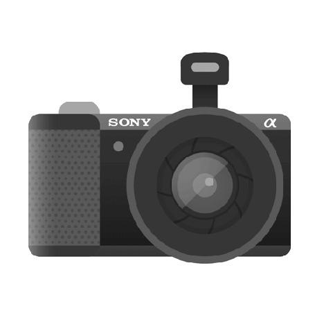 Анимация Рисованная камера Sony, осуществляющая процесс съемки со вспышкой