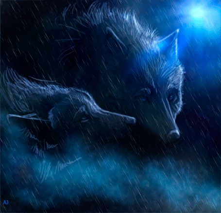 Анимация Волки стоящие ночью, под дождем (© Arinka jini), добавлено: 29.04.2015 00:37