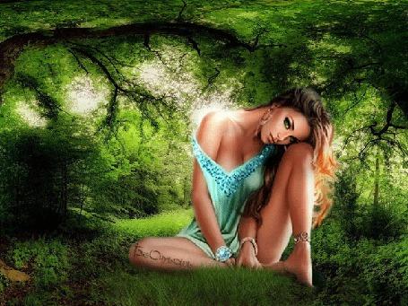 Анимация Грустная девушка сидит в лесу на полянке (© Bezchyfstv), добавлено: 29.04.2015 23:51