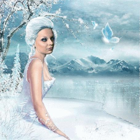 Анимация Снежная королева смотрит на реку