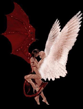 Анимация Объятия между крылатым ангелом и демоном