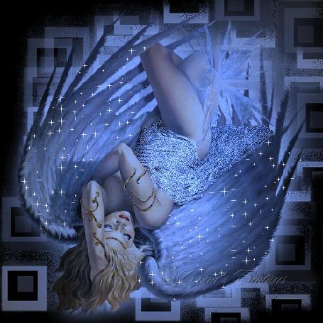 Анимация Спящая девушка-ангел, закинувшая левую руку на голову, в лунном свете
