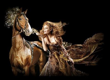 Анимация Конь с блестящей гривой и девушка-наездница, прическа и платье у которой блестят (© Solnushko), добавлено: 30.04.2015 15:32