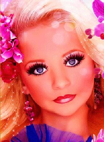 Анимация Девушка блондинка с голубыми глазами, с цветами в волосах