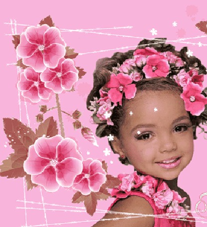 Анимация Девочка в веночках из цветов на голове и на шее, рядом большие розовые цветы (© Akela), добавлено: 02.05.2015 04:32