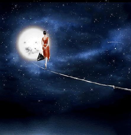 Анимация Девушка с зонтом в красном платье идет по канату над морем среди мерцающих звезд к полной луне