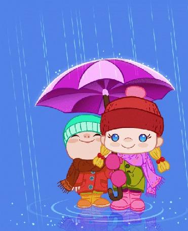 Анимация Дети укрываются от дождя под зонтом (© царица Томара), добавлено: 02.05.2015 13:23