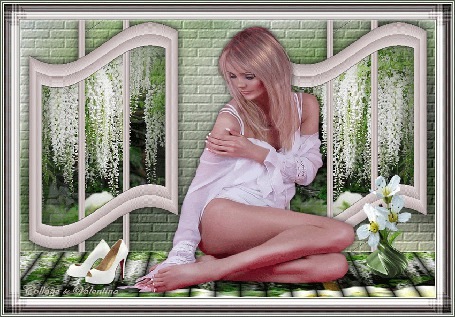 Анимация За раскрытыми окнами видны цветыГлицеи, в комнате на полу сидит девушка, возле нее стоят белые туфелька и ваза с цветком.(Виолетта) (© Valensia), добавлено: 02.05.2015 15:41