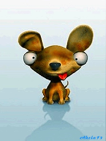 Анимация Влюбленный щенок с большими глазами и бегающим красным языком в виде сердечка, Akela73