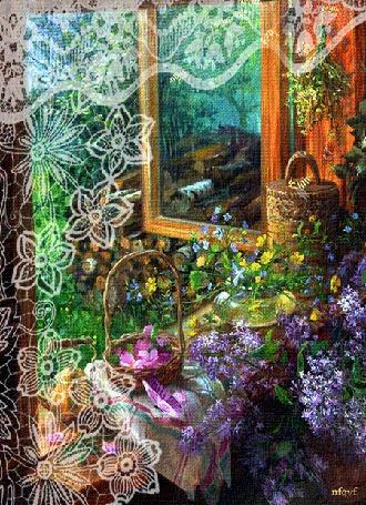 Анимация Бабочка на салфетке на фоне открытого окна (© Natalika), добавлено: 02.05.2015 16:12