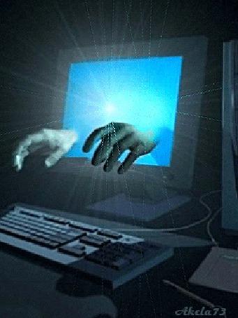 Анимация Руки с монитора тянутся к клавиатуре компьютера, Akela73 (© Akela), добавлено: 02.05.2015 16:15