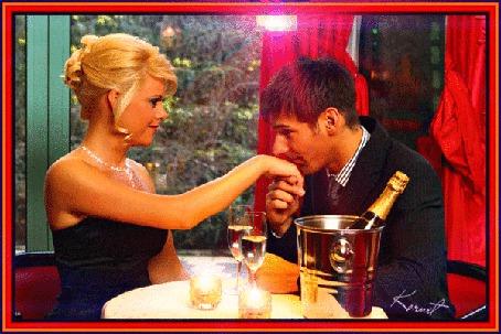 Анимация Романтический ужин с шампанским, молодой человек целует руку девушке (© Natalika), добавлено: 02.05.2015 16:56