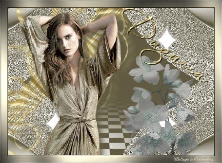 Анимация Абстракция, пол шахматная доска, стоит двушка руки скрещены на затылке, рядом расположен полупрозрачный цветок,(Дугуеза)
