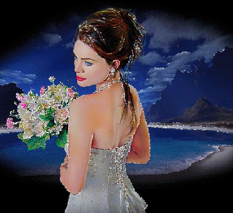 Анимация Девушка с букетом цветов в руках стоит на фоне морского залива (© Akela), добавлено: 03.05.2015 04:00