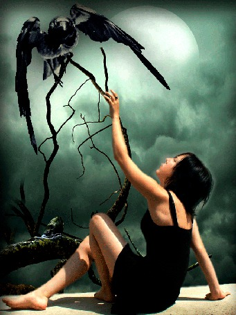 Анимация Девушка в черном платье, сидя, протянула руку к сидящему на ветке дерева черному ворону (© Akela), добавлено: 03.05.2015 04:07